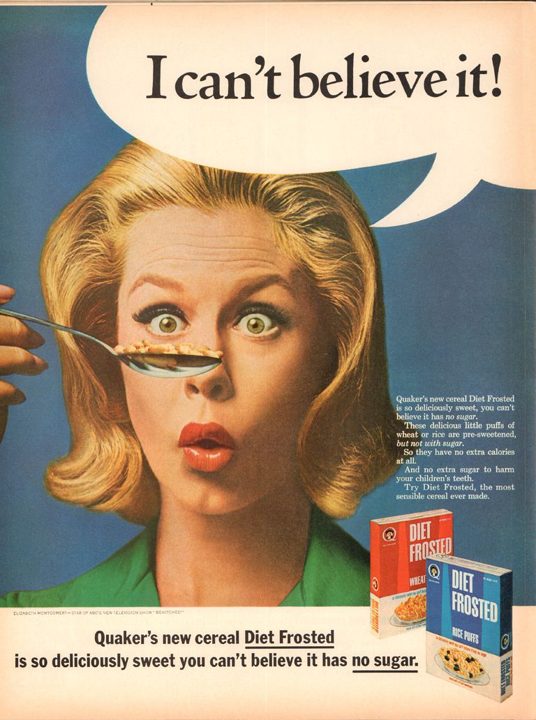 1965 Quaker Diet Frosted Advertisement with Elizabeth Montgomery Life Magazine January 8 1965