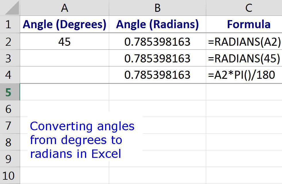 Convert Angles From Degrees To Radians In Excel