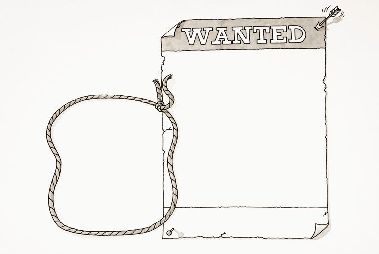 Cartoon, blank 'wanted' poster pinned up with two drawing pins and small arrow, rope noose