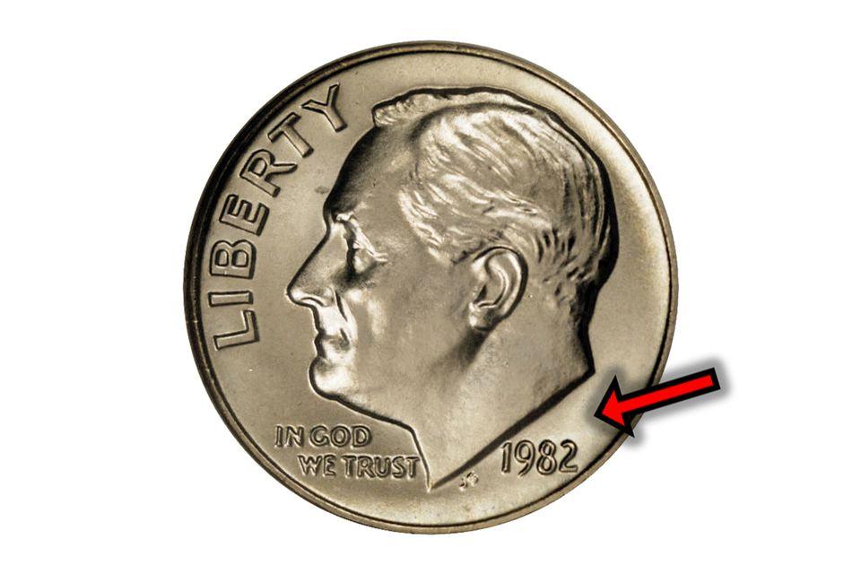 "1982 Roosevelt Dime Missing Mintmark (No ""P"")"