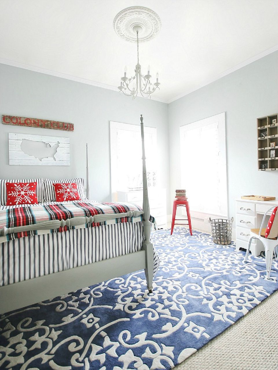 Red White And Blue Farmhouse Bedroom