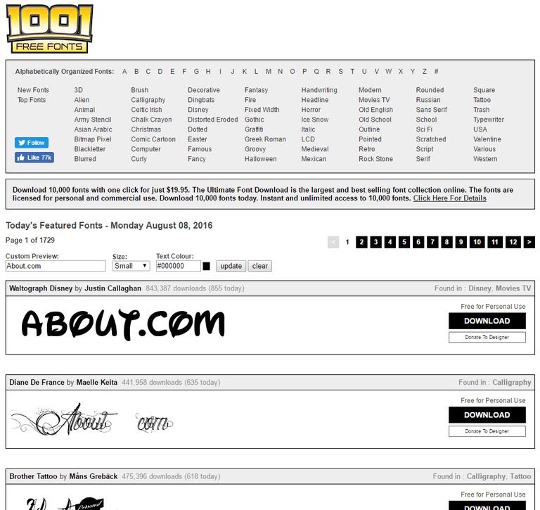 Screenshot of the 1001 Free Fonts website