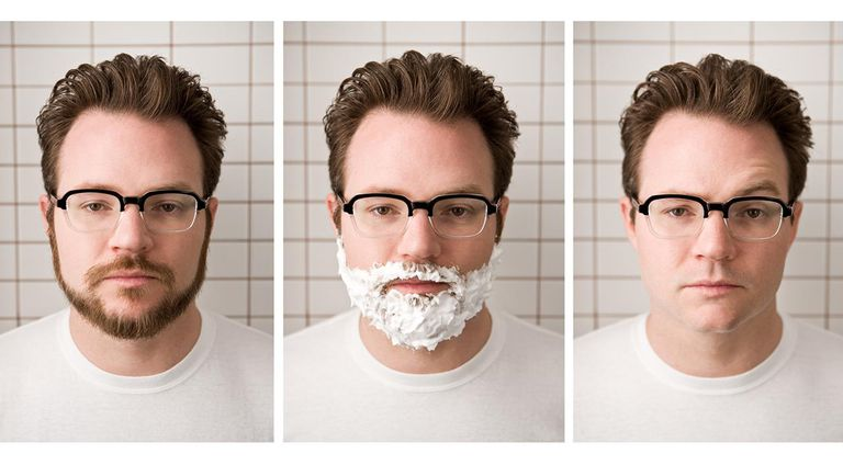 Man shaving his beard off in three steps.