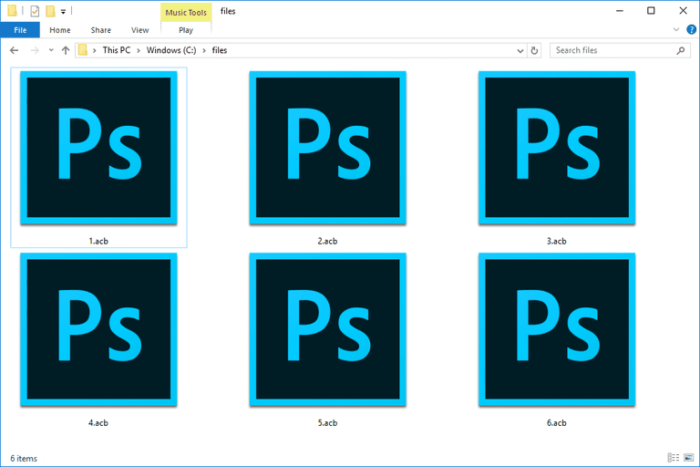 Screenshot of several ACB files in Windows 10 that open with Photoshop