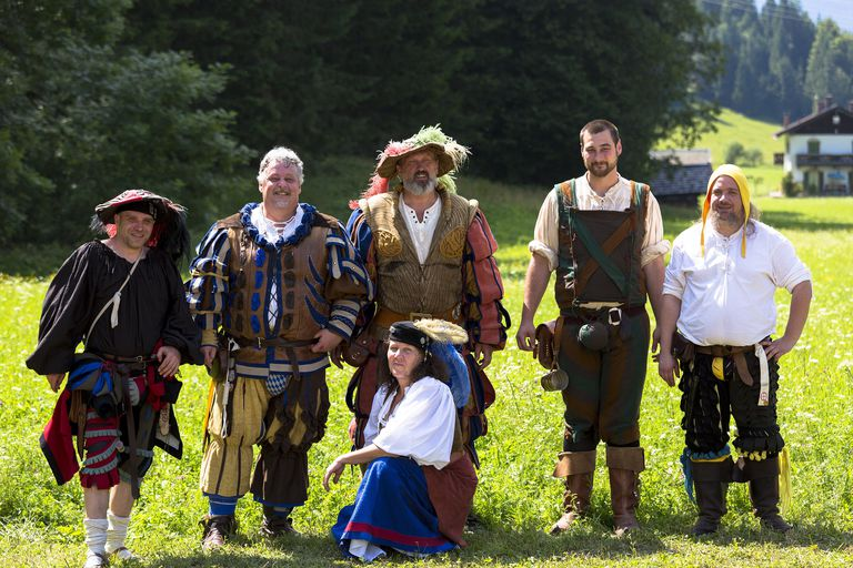 Villagers in costume at beer festival in the village of Klais in Bavaria, Germany.