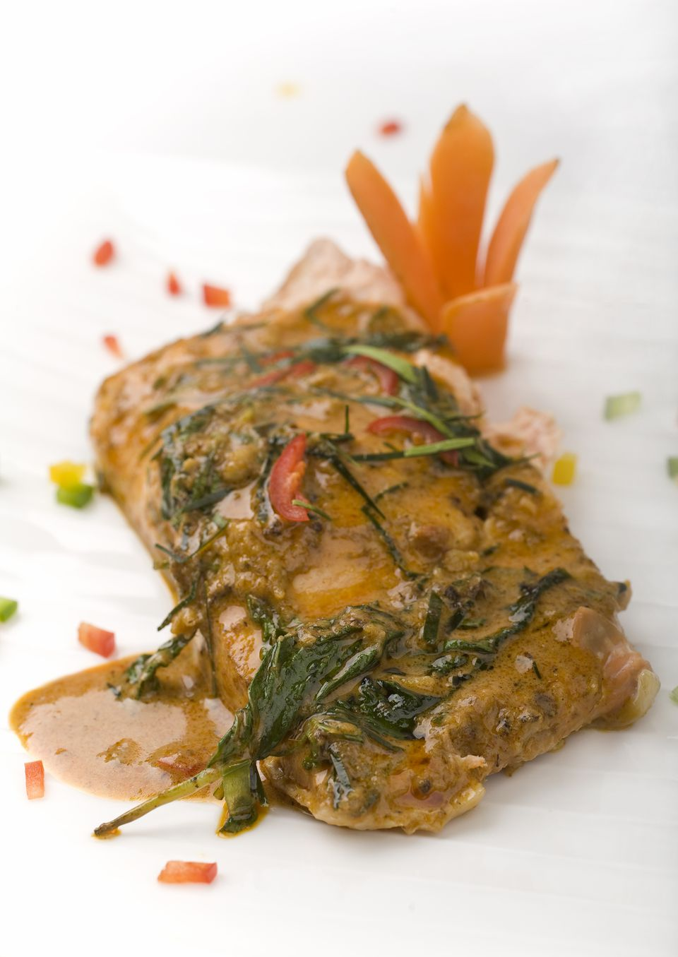 Red curry baked salmon