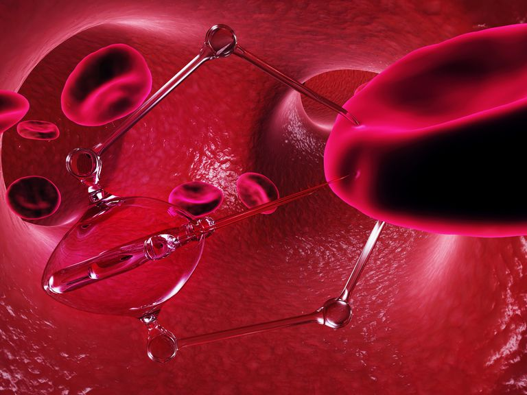 Red blood cells with a glass-looking nanobot, with a large needle-like nose piercing into a red blood cell.