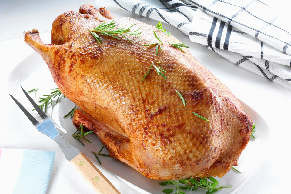 Roasted goose with fresh herbs