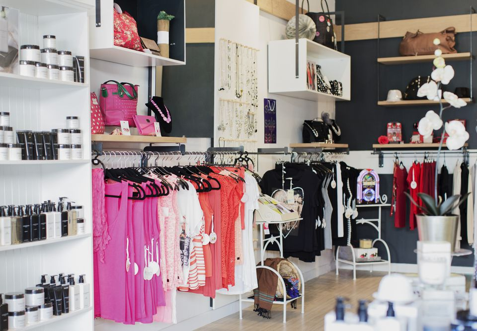 Clothes, accessories and skincare products for sale in store