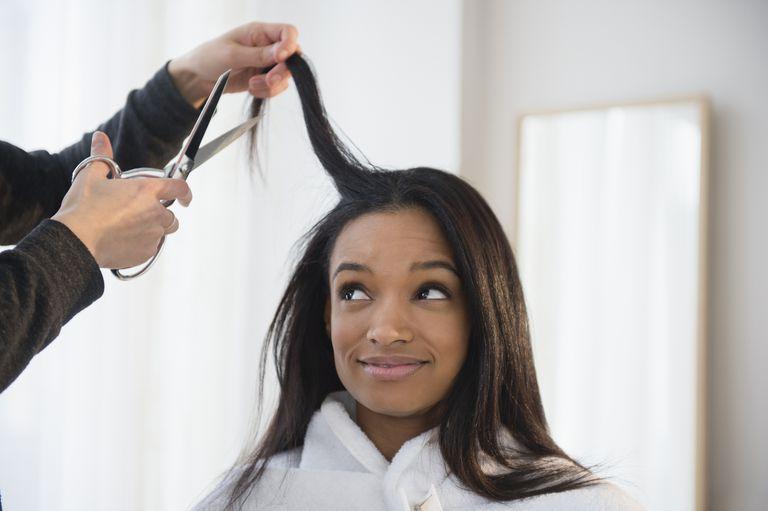 Woman getting her haircut