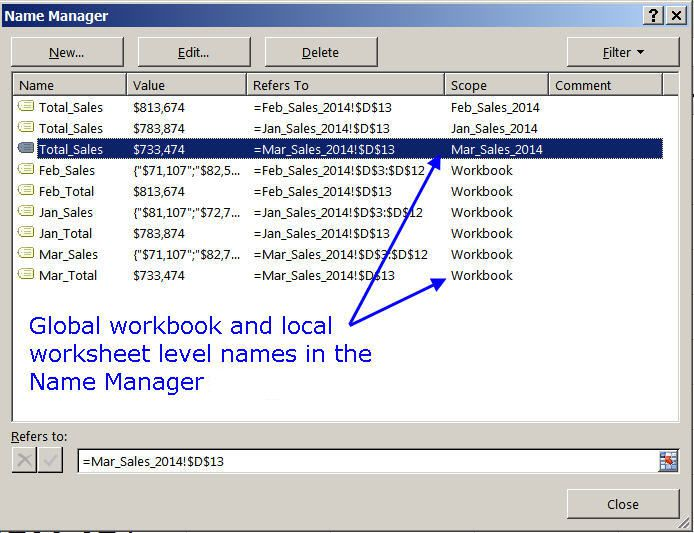 Excel Name Manager Dialog Box