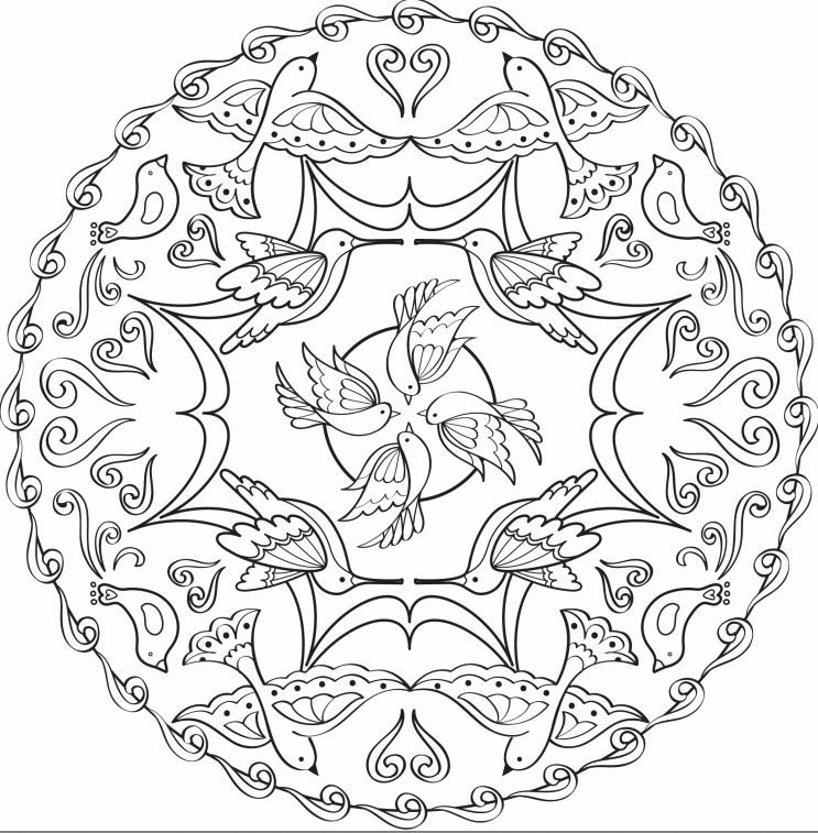 a mandala coloring page with birds and swirls - Pattern Coloring Books