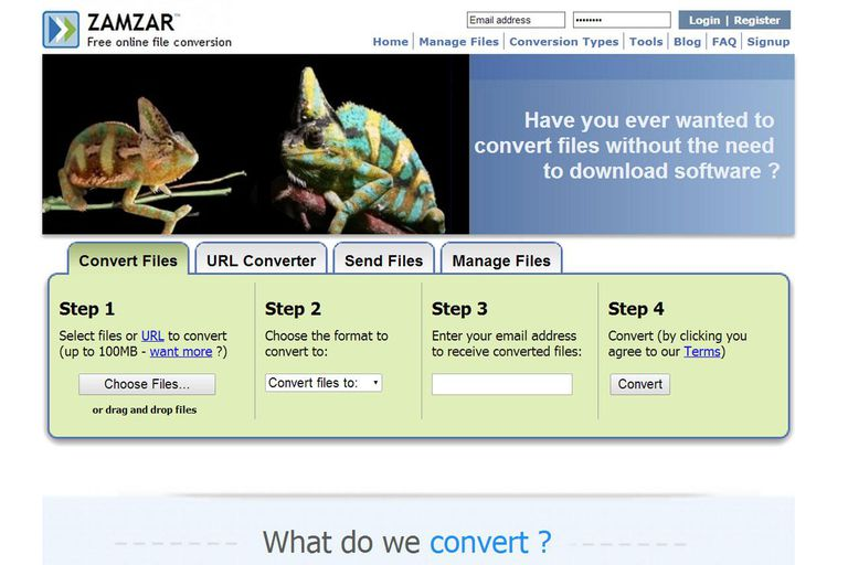 Screenshot of zamzar.com