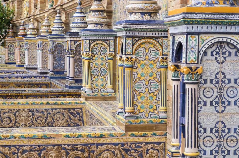 Traditional decoration of Plaza de Espana, Seville, Andalusia, Spain