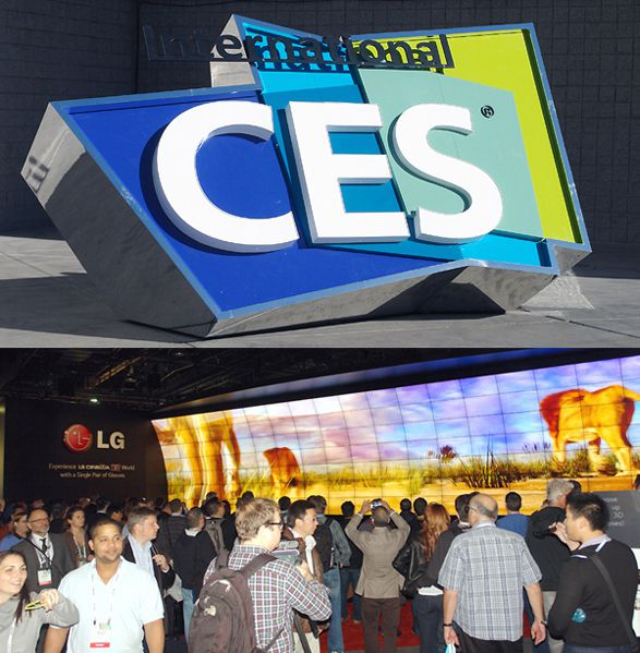 CES Logo Sign and LG Cinema 3D Video Wall - CES 2014