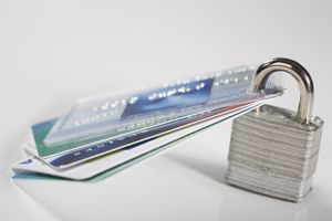 Credit cards secured with a padlock