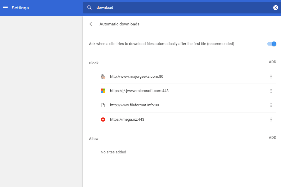 Screenshot of the automatic downloads option in Chrome