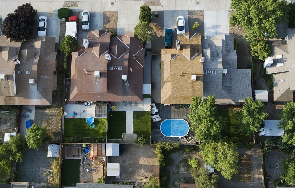 aerial view houses