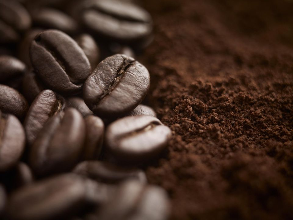 Whole coffee beans and ground coffee