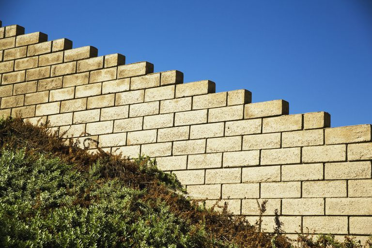 Brick wall in step formation on a hillside
