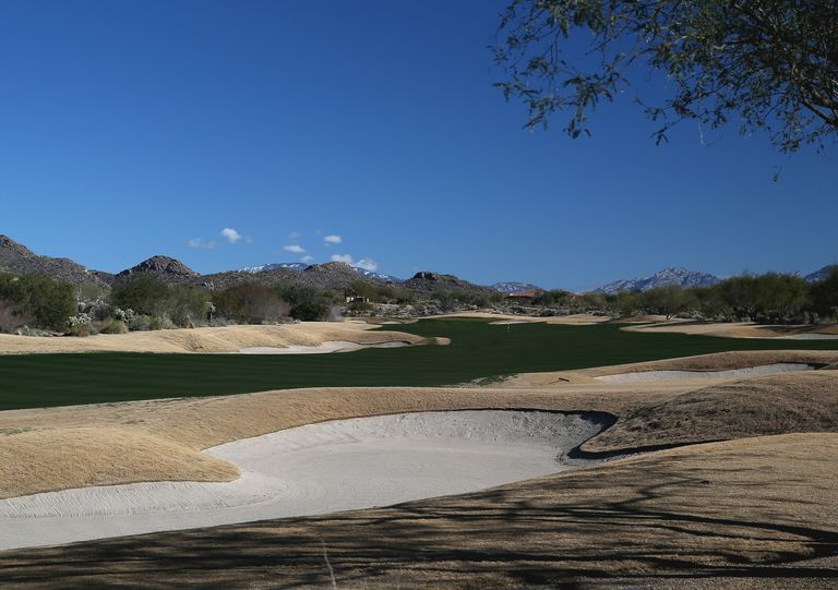 The par five 17th hole on the South Course at the Gallery Golf Club, Dove Mountain on January , 2013 in Tucson, Arizona