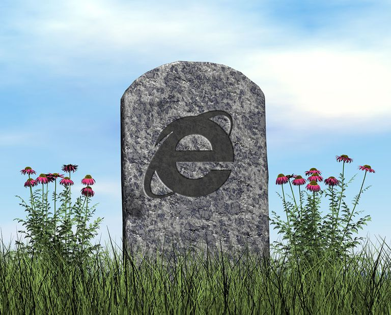 A gravestone with the Internet Explorer logo on it