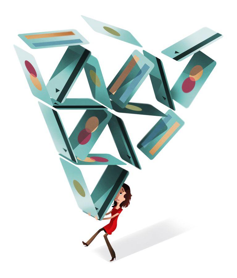 Illustration of a woman balancing a pyramid of credit cards