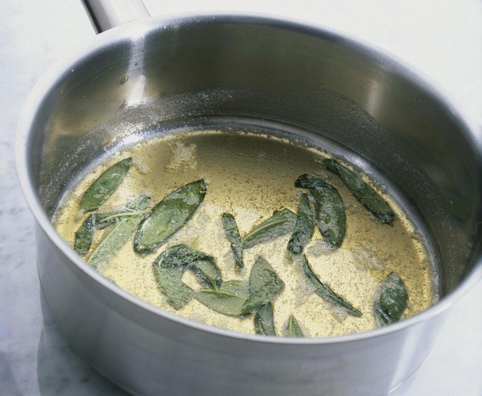 Sage butter sauce in pan