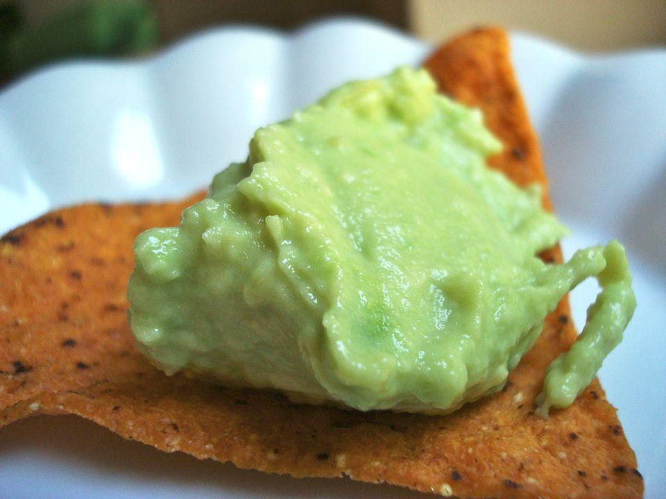 Creamy Avocado Spread on a Sweet Potato Tortilla Chip