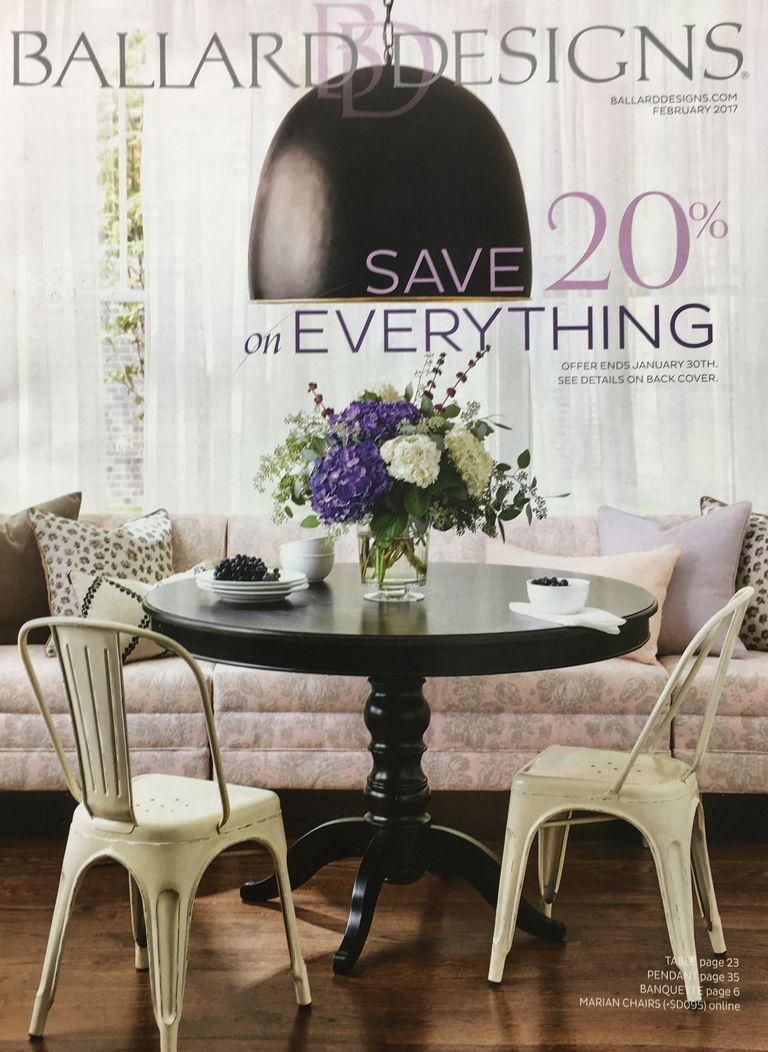 Picture of a free home decor and furniture catalog from Ballard Designs. 30 Free Home Decor Catalogs You Can Get In the Mail