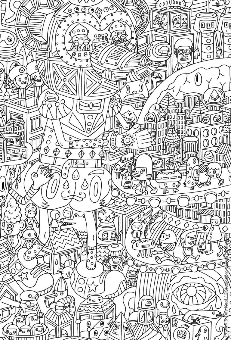 an intricate coloring page for adults featuring aliens - Coloring Pages For Adults