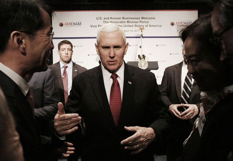 U.S. Vice President Mike Pence meeting with S. Korean officials