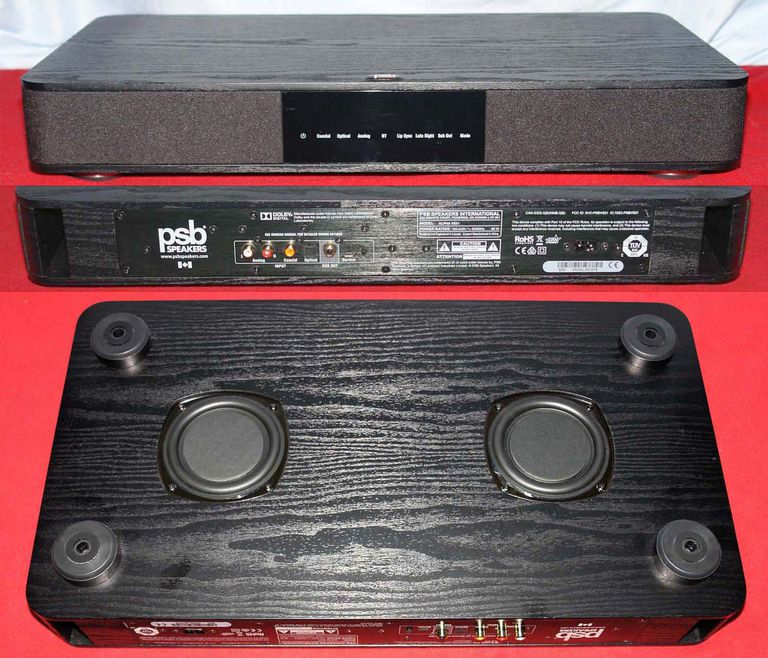 PSB Alpha VS21 VisionSound Base - Front, Rear, and Bottom Views