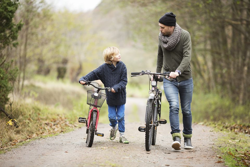 Father and son with bicycles