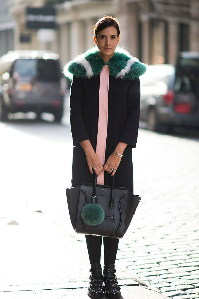 Street style in fur trimmed winter coat