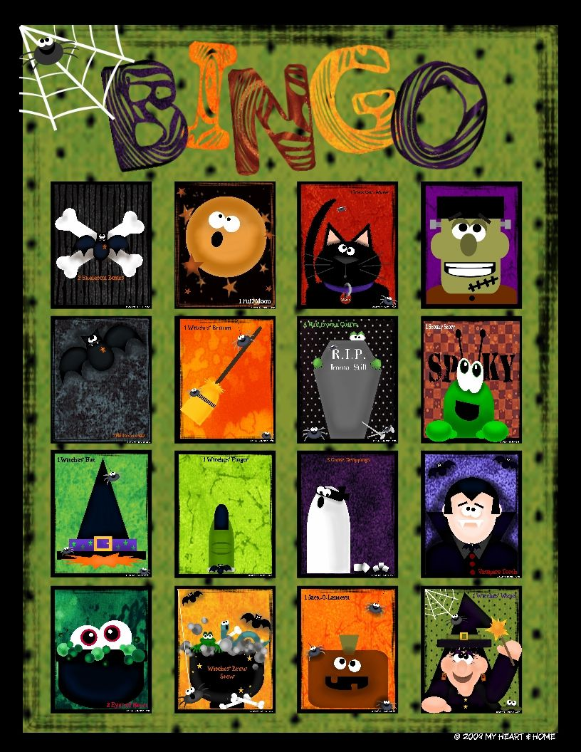 21 Sets of Free, Printable Halloween Bingo Cards