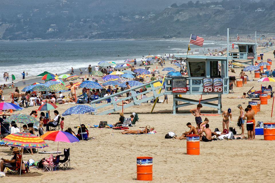Busy Day on Santa Monica Beach