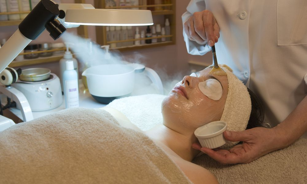 Woman having a chemical peel treatment