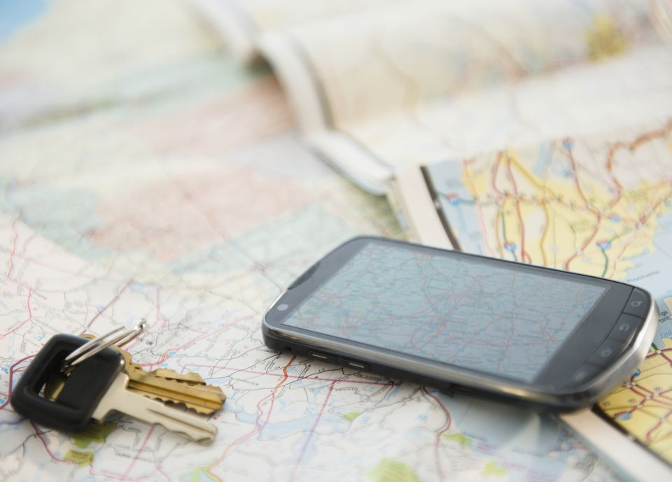 Smartphone on map