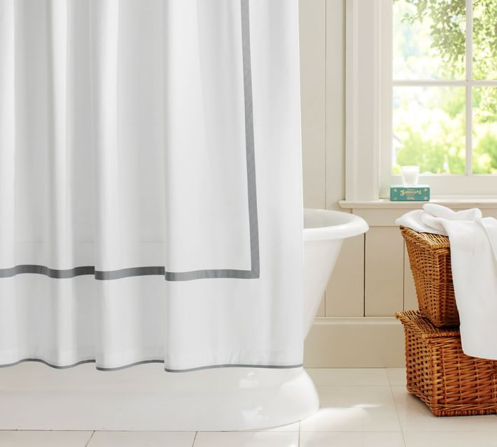 Preppy Piped Shower Curtain Pottery Barn