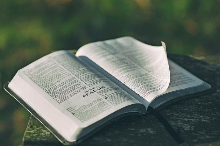 Bible open to Psalms