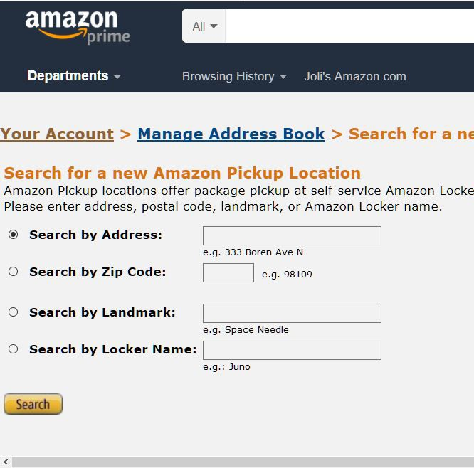 A screen shot of a search for an Amazon Pickup Location.