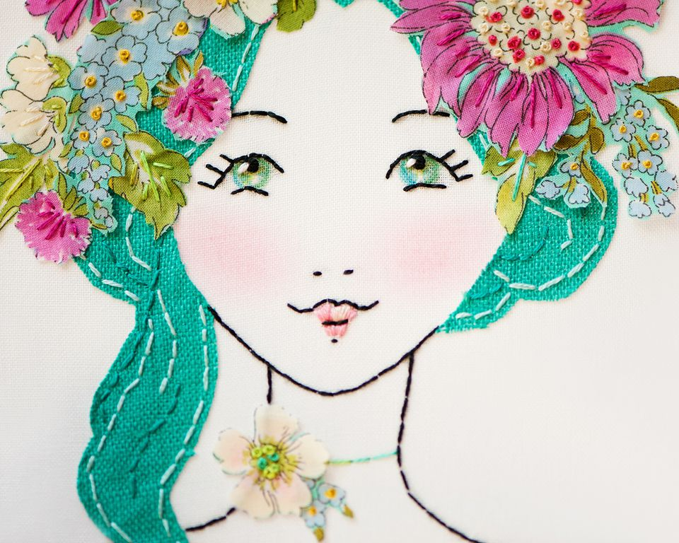 Applique and Embroidery Flower Crown Girl