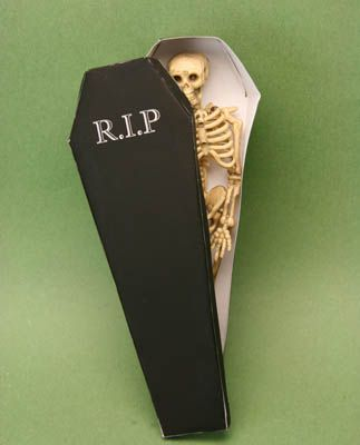 dolls house scale skeleton in a miniature coffin box made of paper - Miniature Halloween Decorations