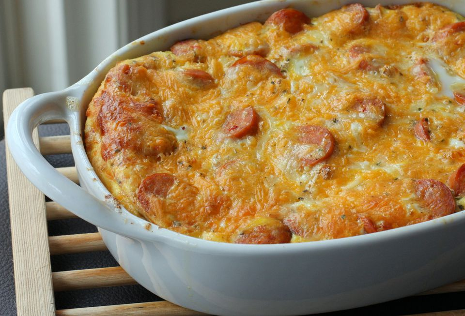 Breakfast Casserole With Eggs and Chicken Smoked Sausage