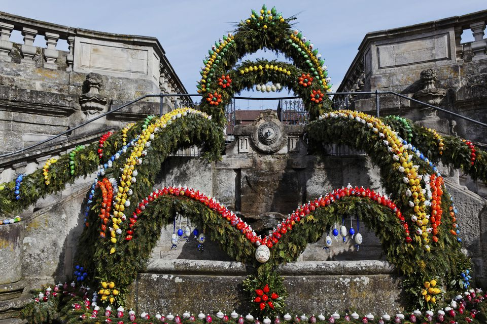 Easter decorations on the fountain of the former Ebrach monastery, Upper Franconia, Bavaria, Germany