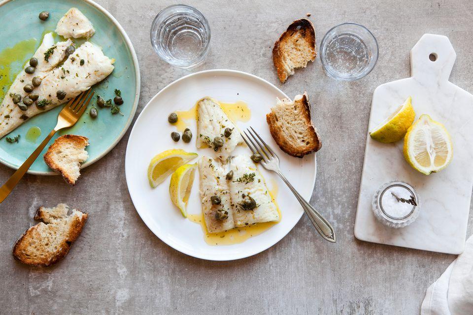 Fish with lemon olive oil sauce