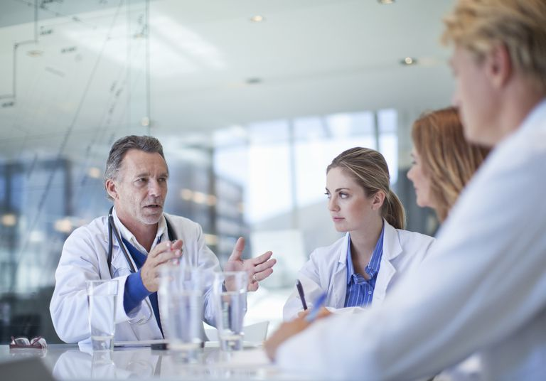 Doctors meeting in a conference room