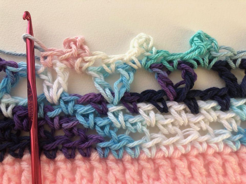 V-stitches and picots for crochet border