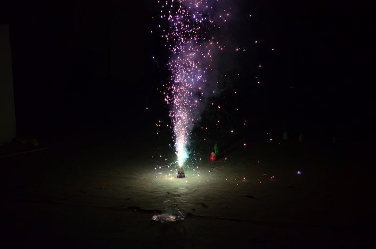 You can make a fountain firework using the homemade smoke bomb recipe.